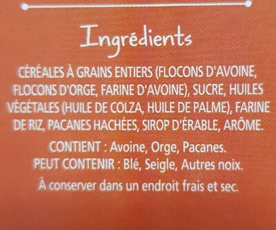 Morning Crisp - Maple pecan - Ingredients - fr