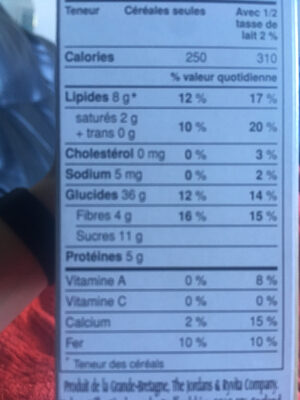 Morning crisp - Nutrition facts - fr