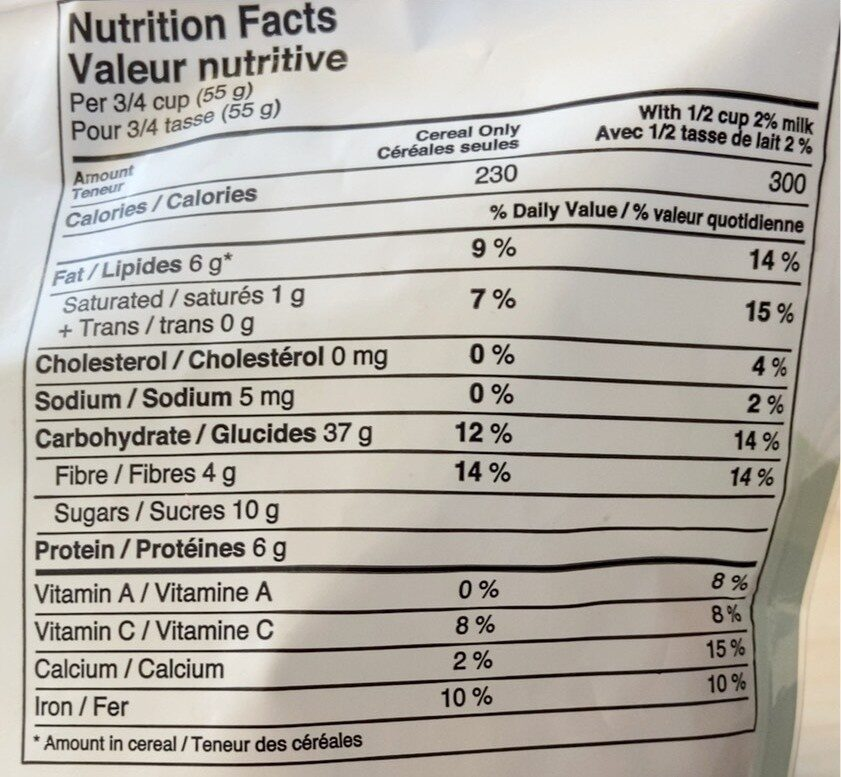 Morning/Matin Granola - Strawberry & Blueberry - Informations nutritionnelles - en