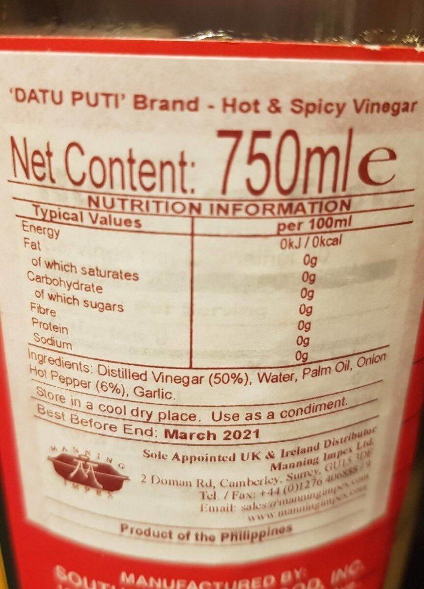 Sukang Maasim White Vinegar - Informations nutritionnelles