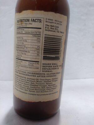 The Salt Lick Original Barbeque Sauce - Ingredienti - en