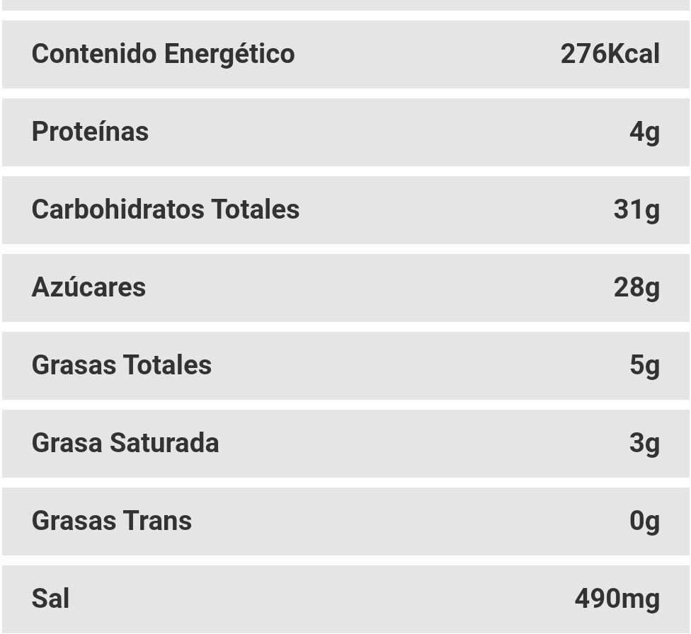 King fusion brownie - Nutrition facts - es