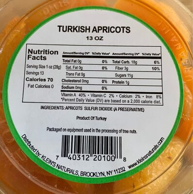 Turkish apricots - Nutrition facts - en