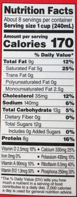 Organic Grassfed Vitamin D milk - Nutrition facts
