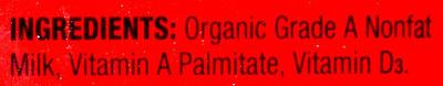 Organic fat-free milk - Ingredients - en