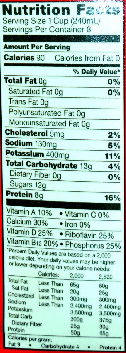 Organic fat-free milk - Nutrition facts - en