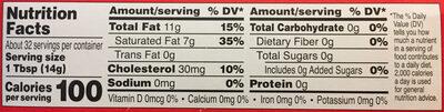 Organic butter - Nutrition facts - en