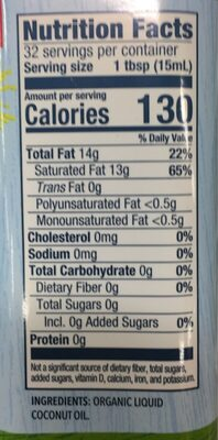 Coconut Cooking Oil - Nutrition facts - en