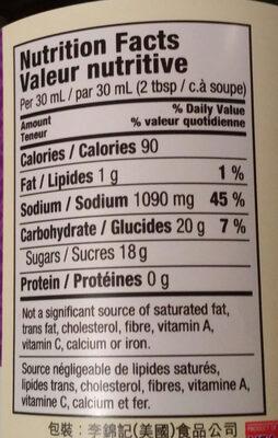 Hoisin Sauce - Nutrition facts - en