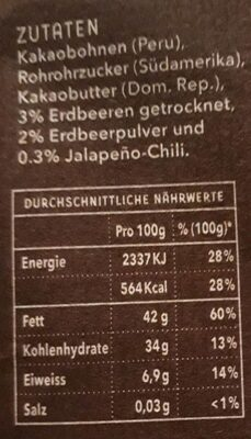 Dark Chocolate 71% Spicy Strawberry - Informations nutritionnelles - de