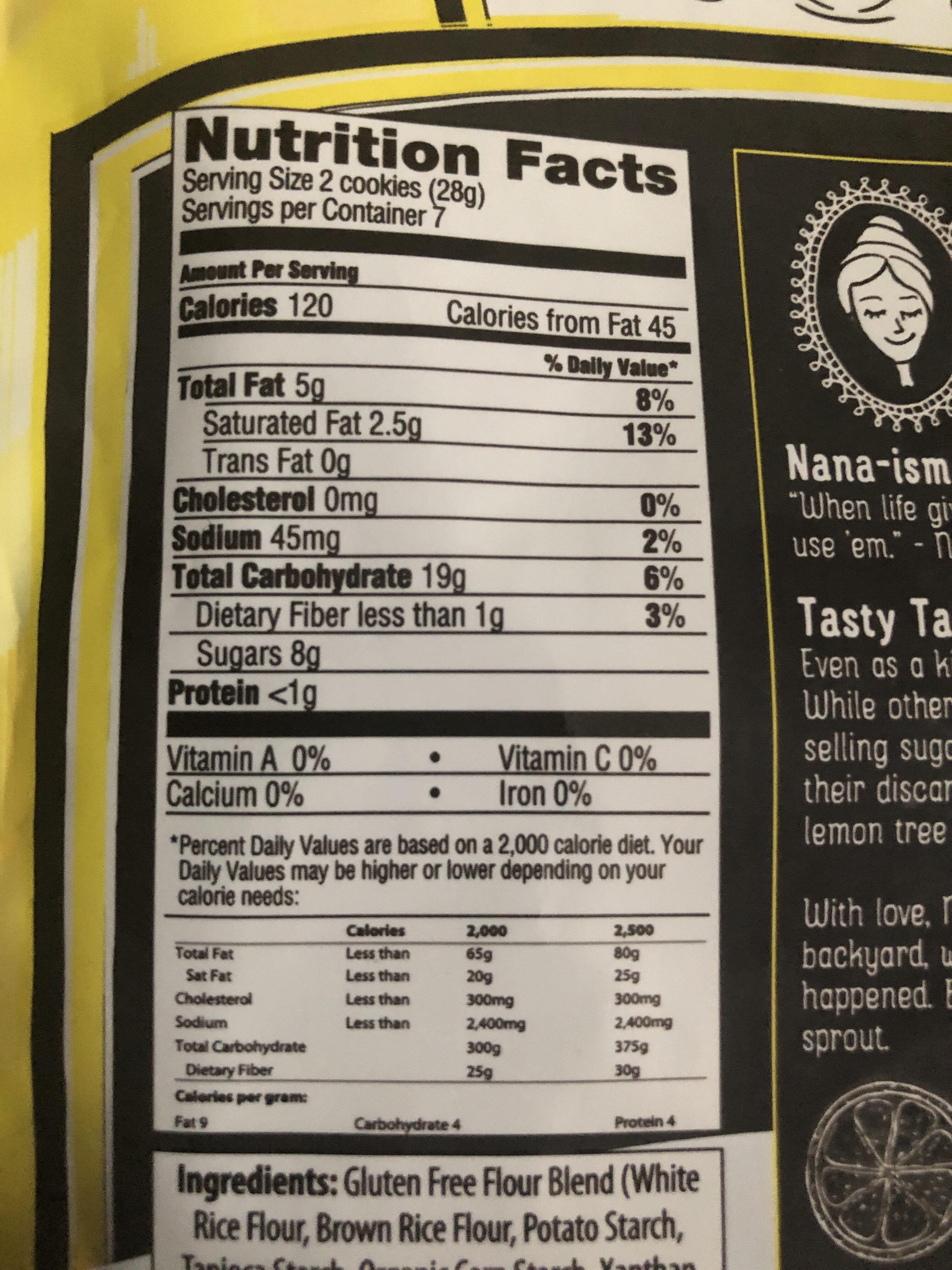 Lemon Cookie, gluten free - Nutrition facts - en