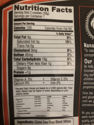 Snickerdoodle cookie - Nutrition facts