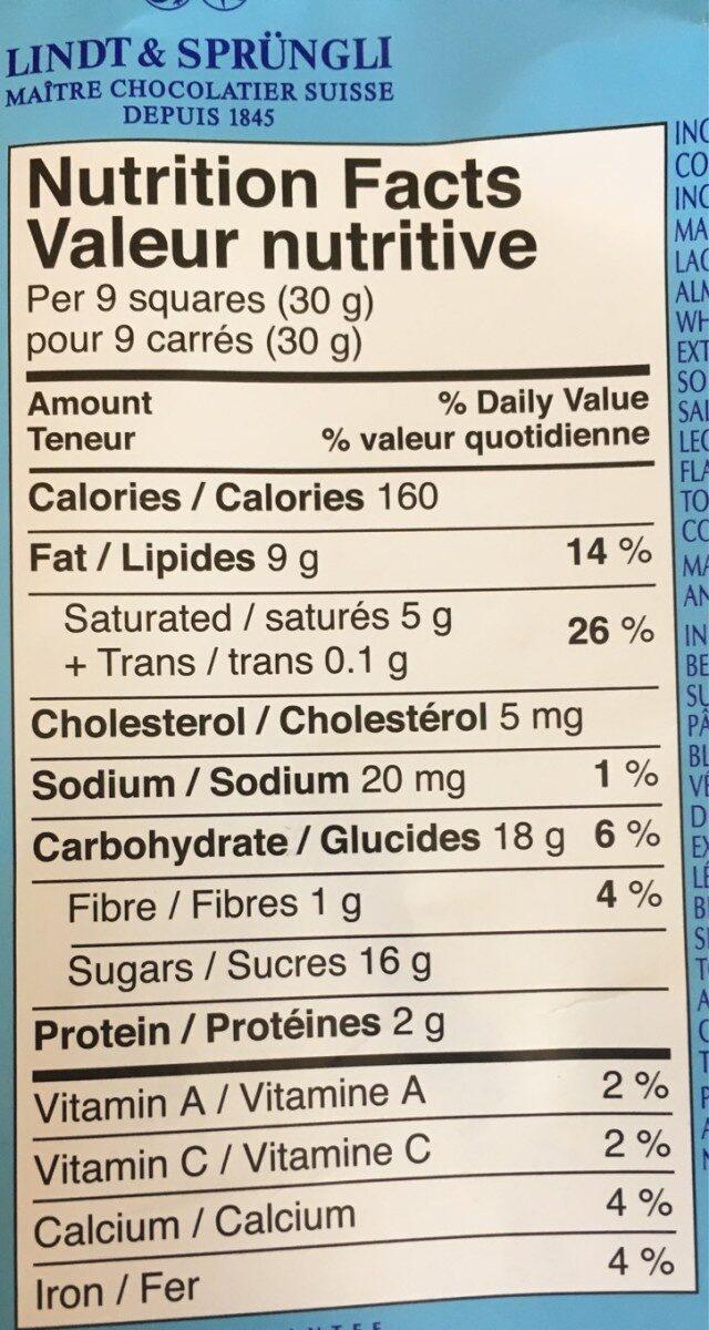 Chocolat au lait croquant - Nutrition facts - fr