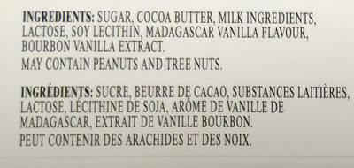 Lindt Excellence Vanilla - Ingredients - en