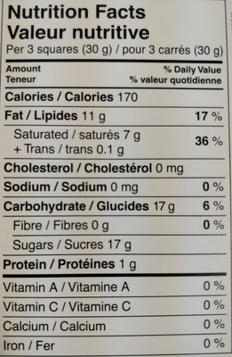 Lindt Excellence Vanilla - Nutrition facts - en