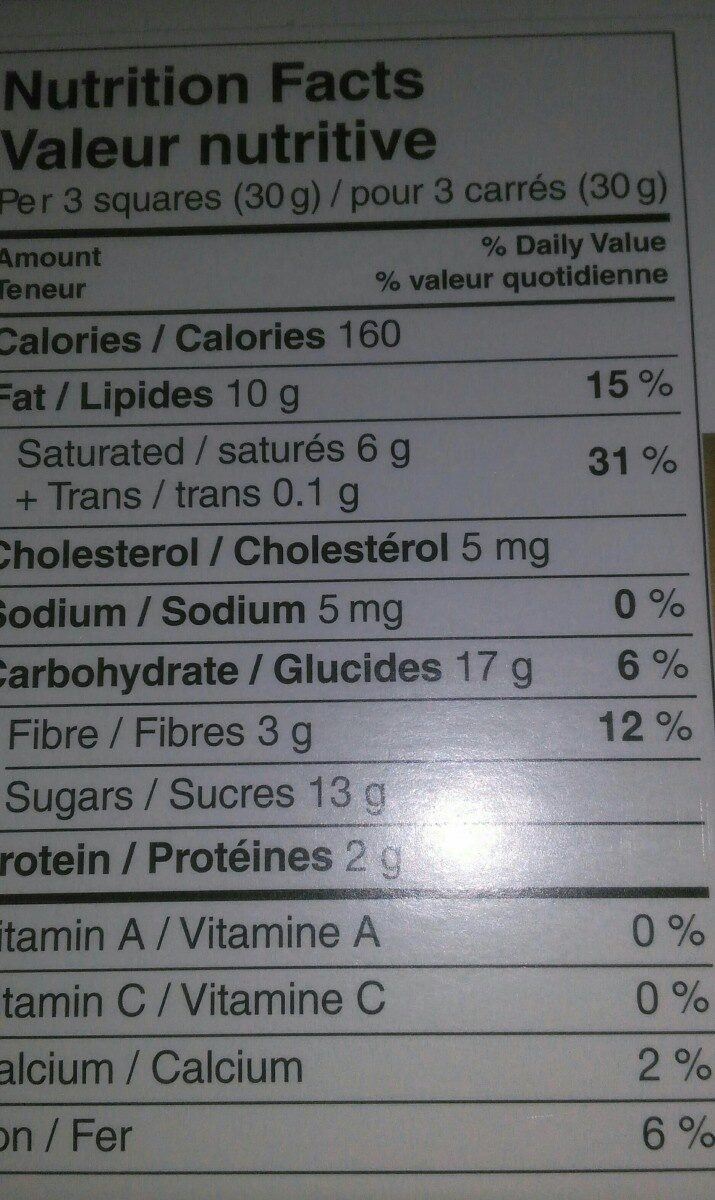 Chocolat excellence - Nutrition facts - fr