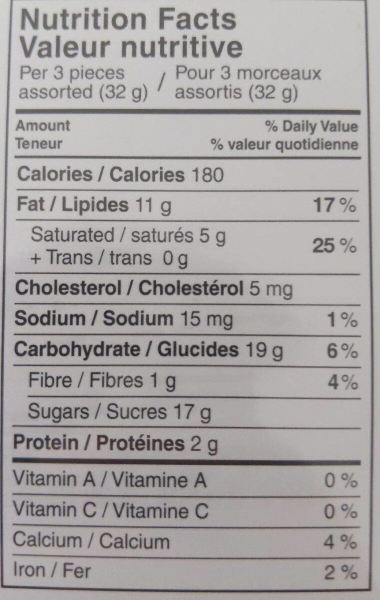 Lindt pralinés - Informations nutritionnelles - fr