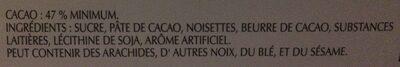 Excellence Tablette De Chocolat Noir,100 G,Noisette - Ingredients - fr