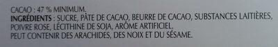 Chocolat noir Excellence poivre rose - Ingrédients - fr