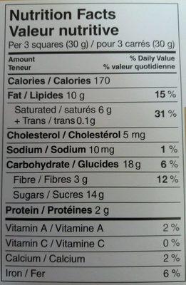 Chocolat noir Excellence poivre rose - Informations nutritionnelles - fr