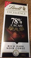 Tablette chocolat noir 78% - Produit - fr