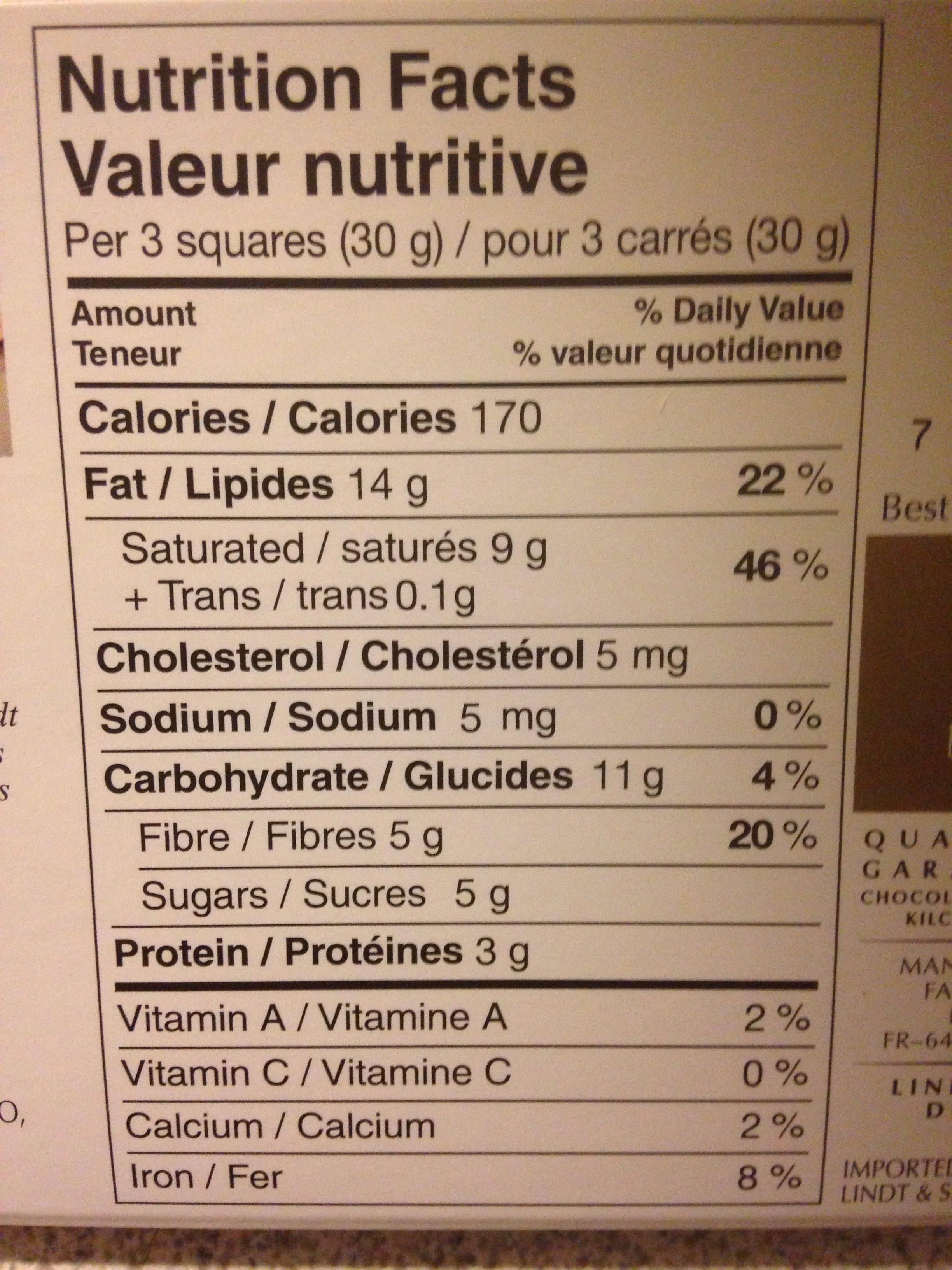 Tablette chocolat noir 78% - Informations nutritionnelles - fr