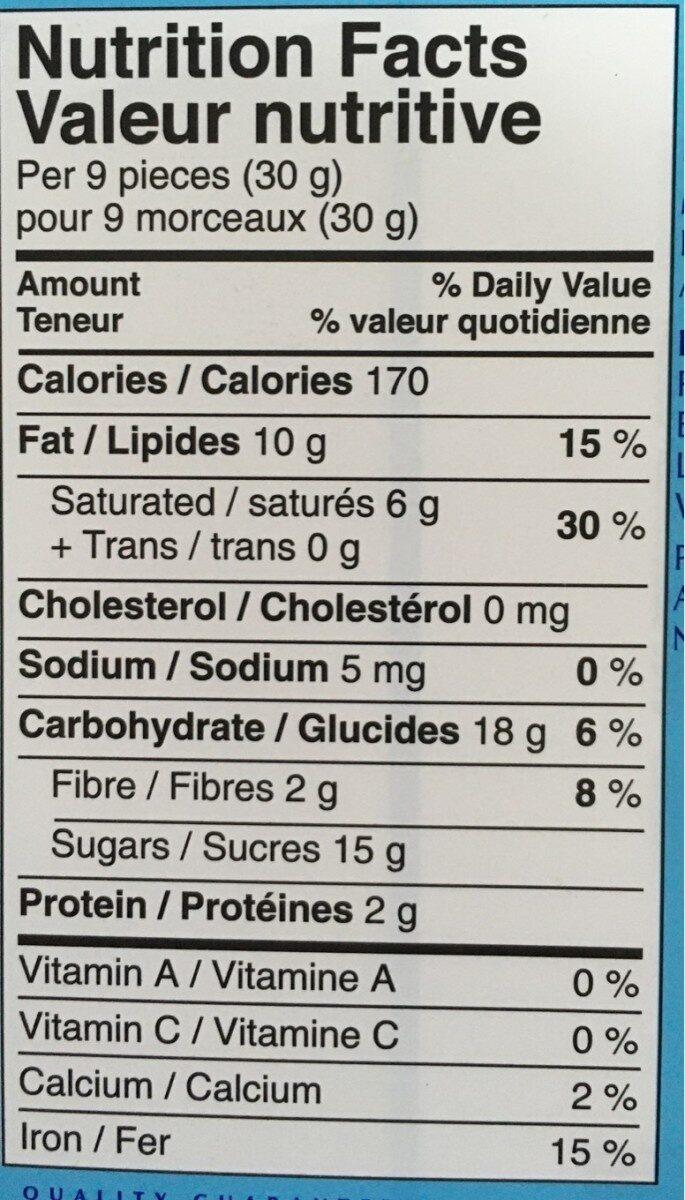 Chocolat noir original - Nutrition facts - fr