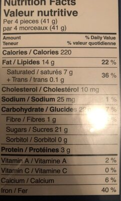 Pralinés assortis - Nutrition facts - fr