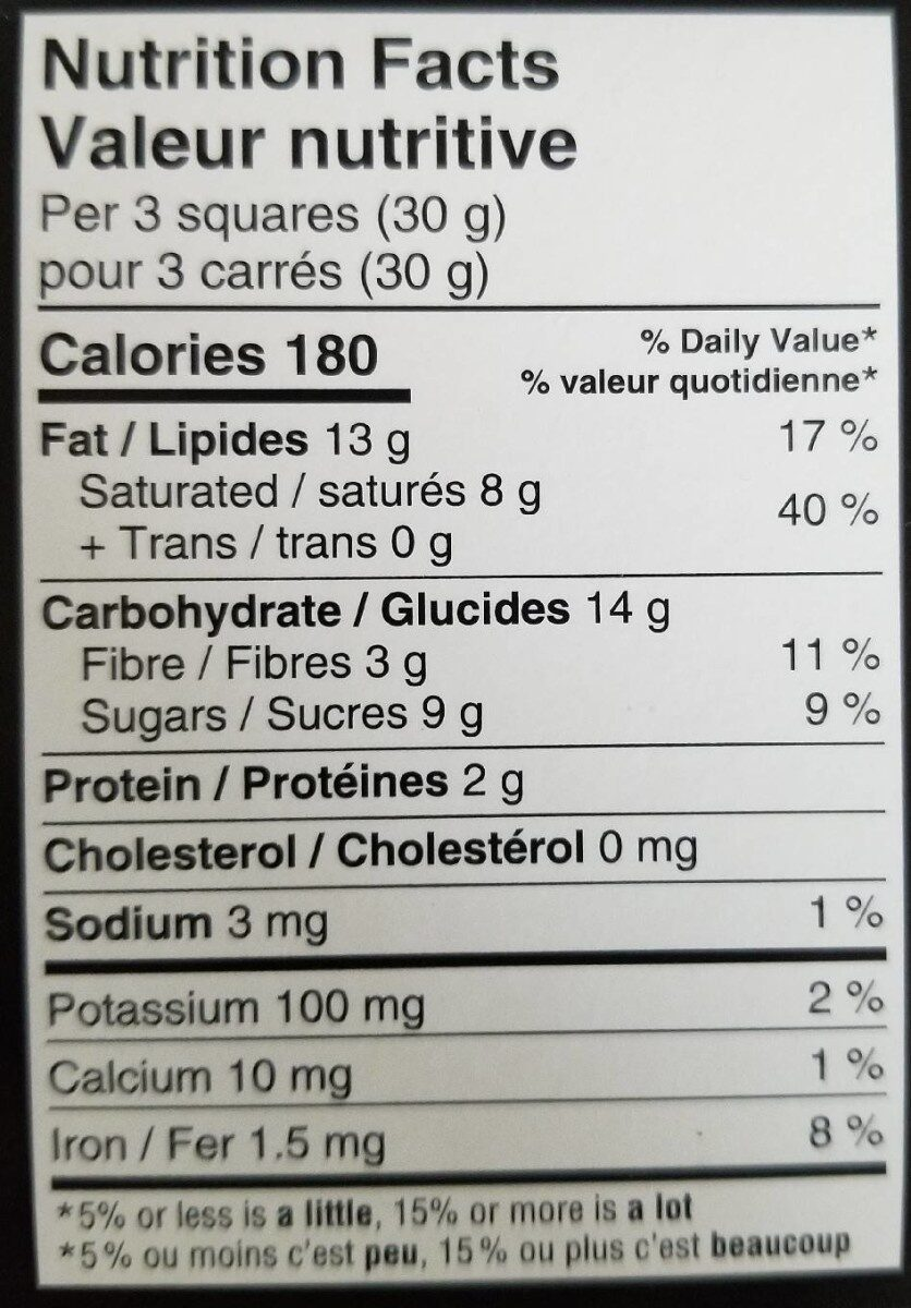 Excellence orange almond - Nutrition facts - fr