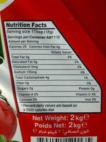 ketchup - حقائق غذائية - en