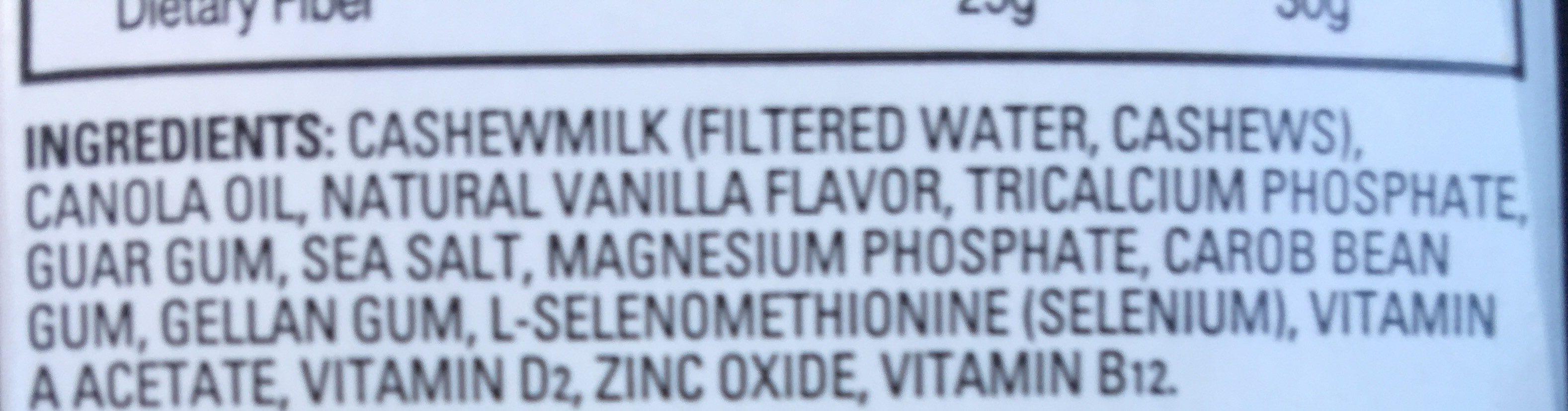 Unsweetened vanilla cashewmilk beverage - Ingrédients - fr