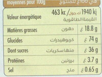 Gaufres cacao caramel - حقائق غذائية - fr