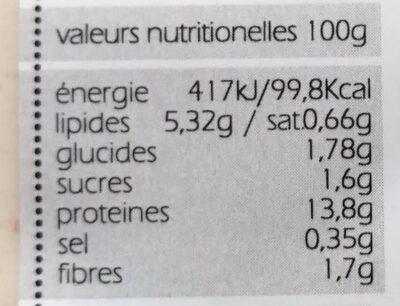 TOFU artisanal nature - Informations nutritionnelles