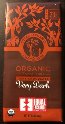 Equal exchange chocolates, organic & fairly traded dark chocolate, very dark - Product - en