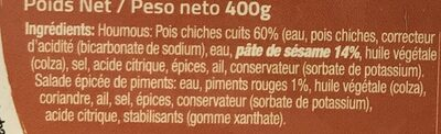 Houmous picanti au piment rouge - Ingredients - fr