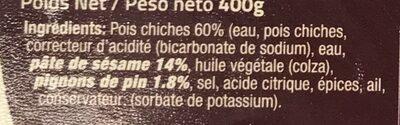 Houmous aux pignons de pin - Ingrediënten - fr