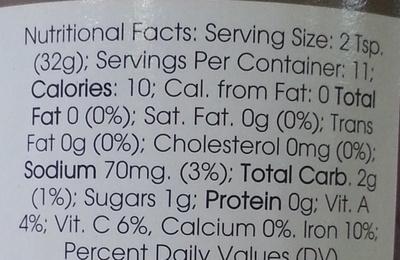 Triple Garlic Salsa - Nutrition facts