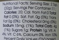 Tomatillo Salsa - Nutrition facts