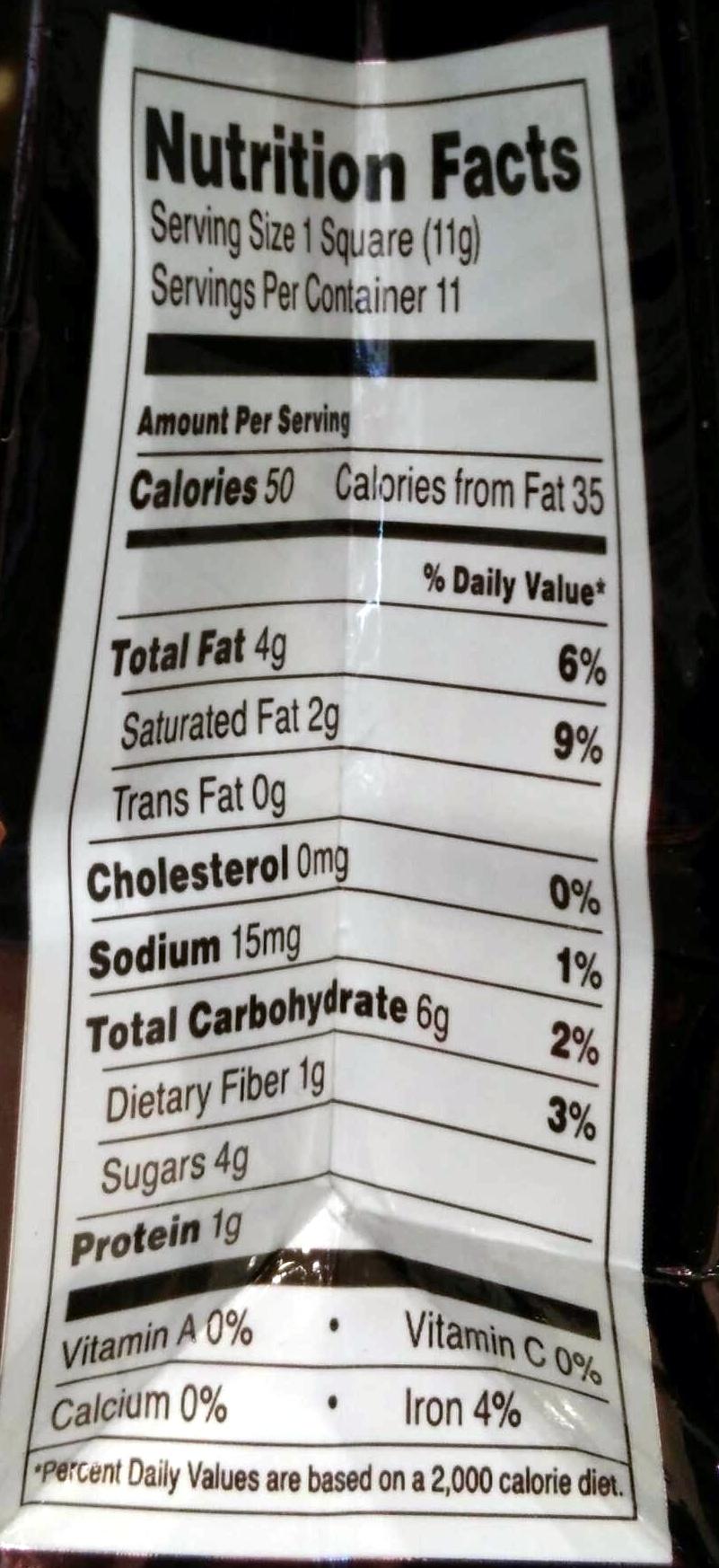 Ghirardelli  Chocolate Nutrition