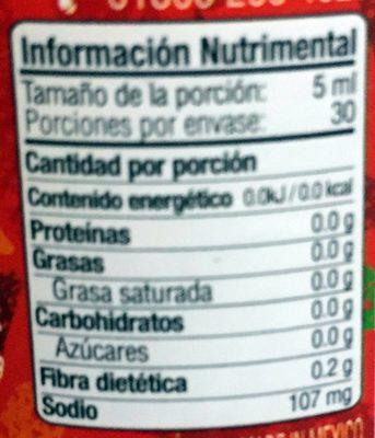 Chile de árbol - Informations nutritionnelles