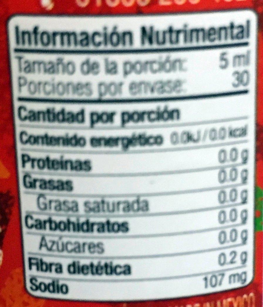 Chile de árbol - Informations nutritionnelles - es