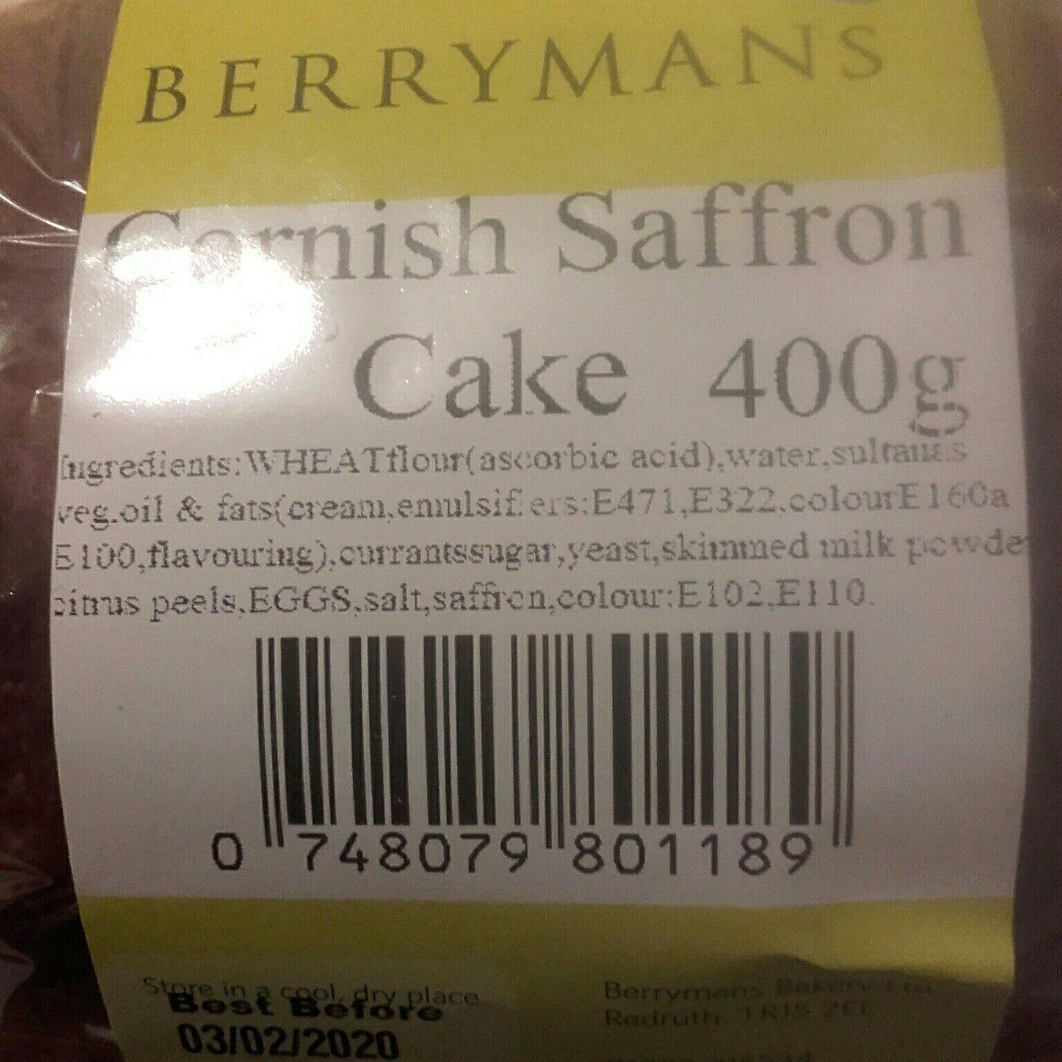 berrymans cornish saffron cake - Ingredients
