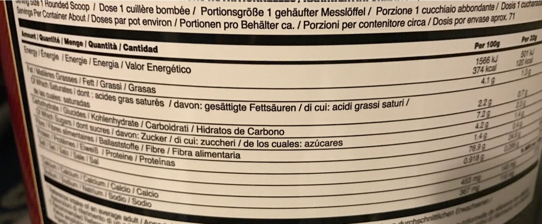Gold Standard 100 % Whey - Informació nutricional - fr