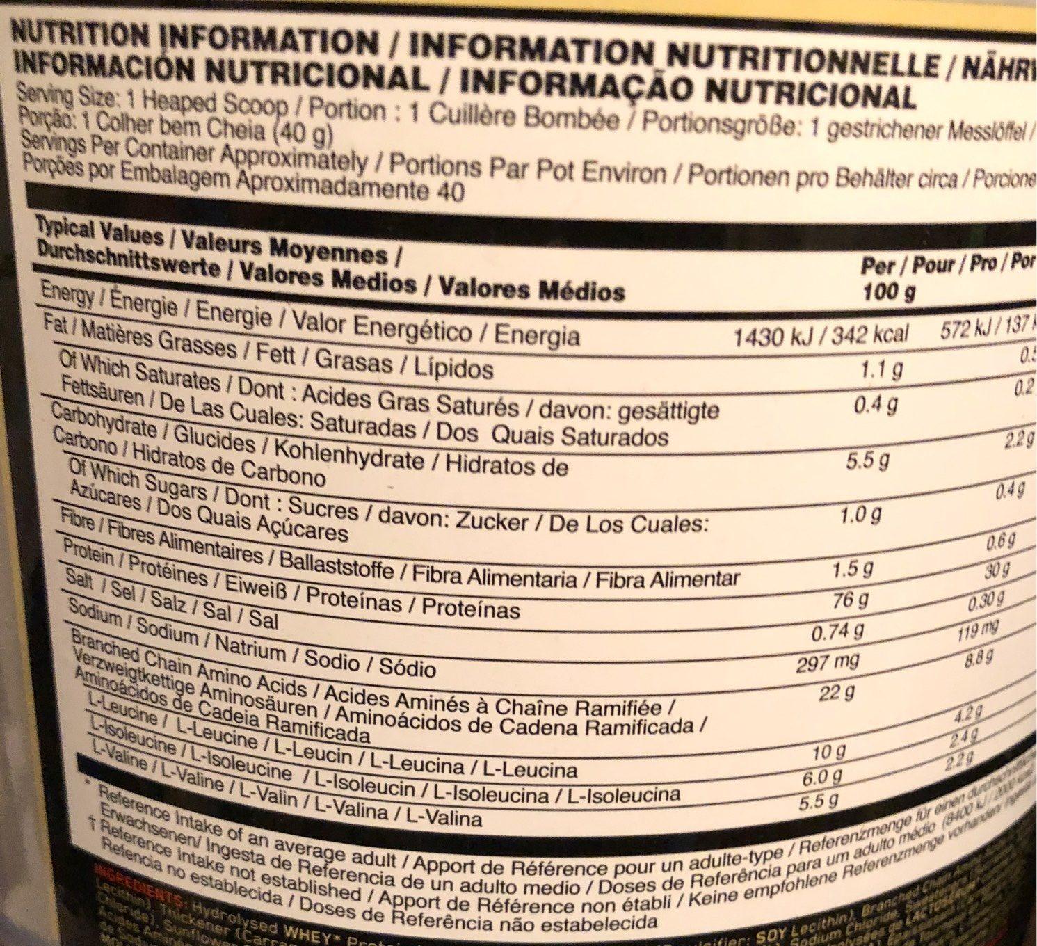 Platinum Hydrowhey (1,59 KG) Optimum Nutrition ? - Nutrition facts