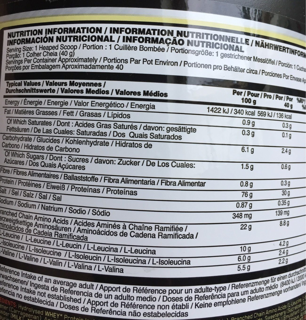 Optimum Nutrition Supercharged Strawberry Platinum Hydrowhey (3.5 lbs) - Nutrition facts - fr