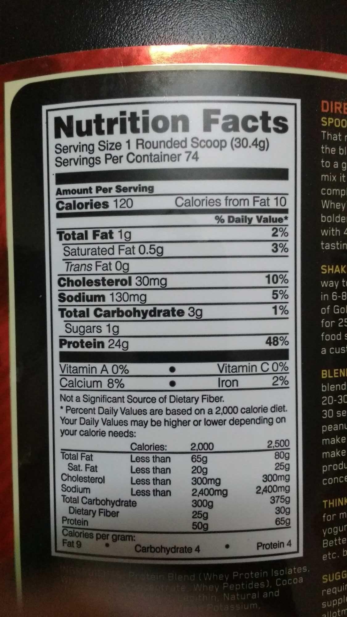 Optimum Nutrition 100% Gold Standard Whey - Voedigswaarden