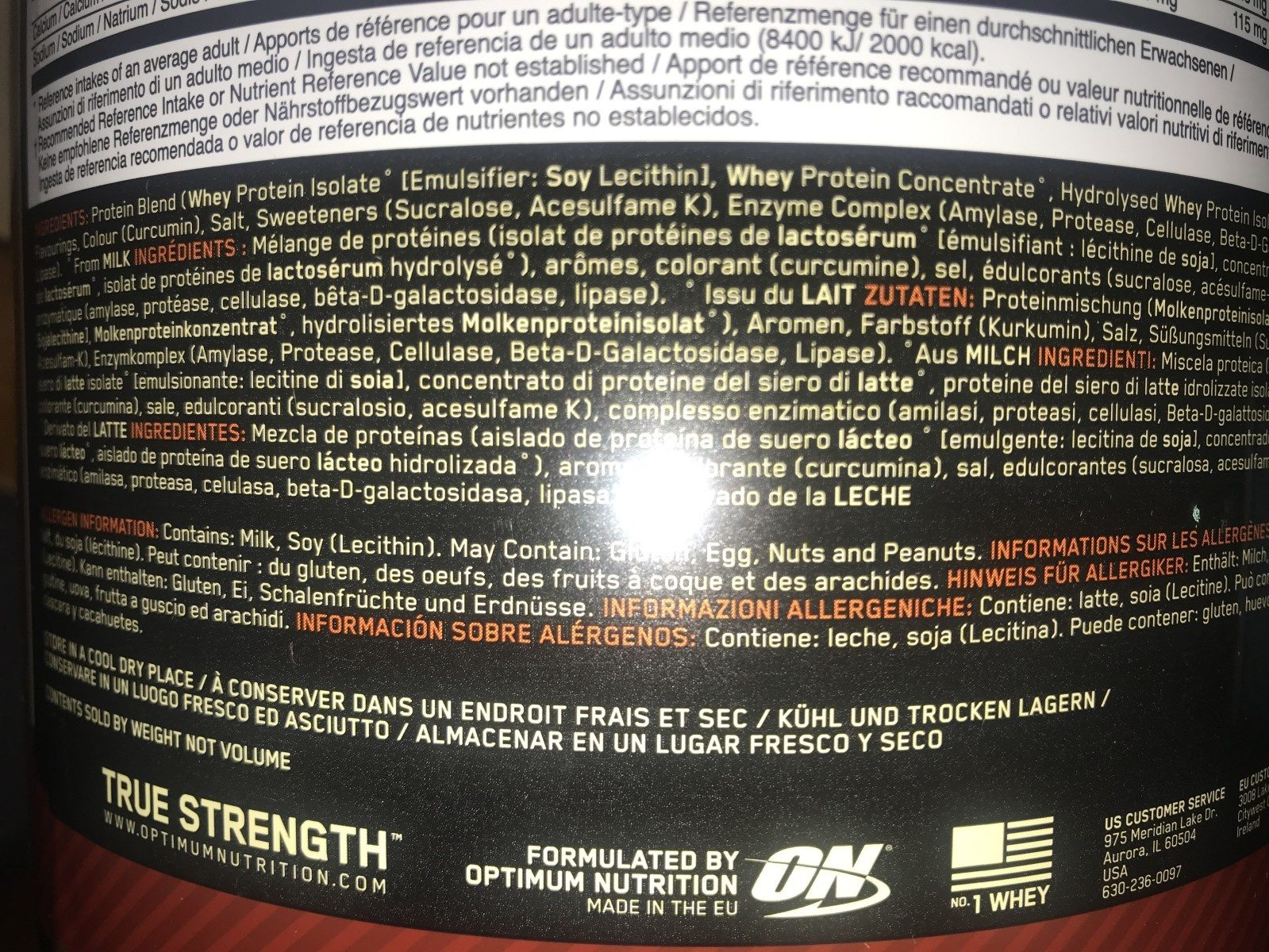 100% Whey Gold Standard 2 LBS (908G) - Ingredients