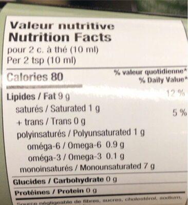 Huile d'olive Douce - Informations nutritionnelles - fr