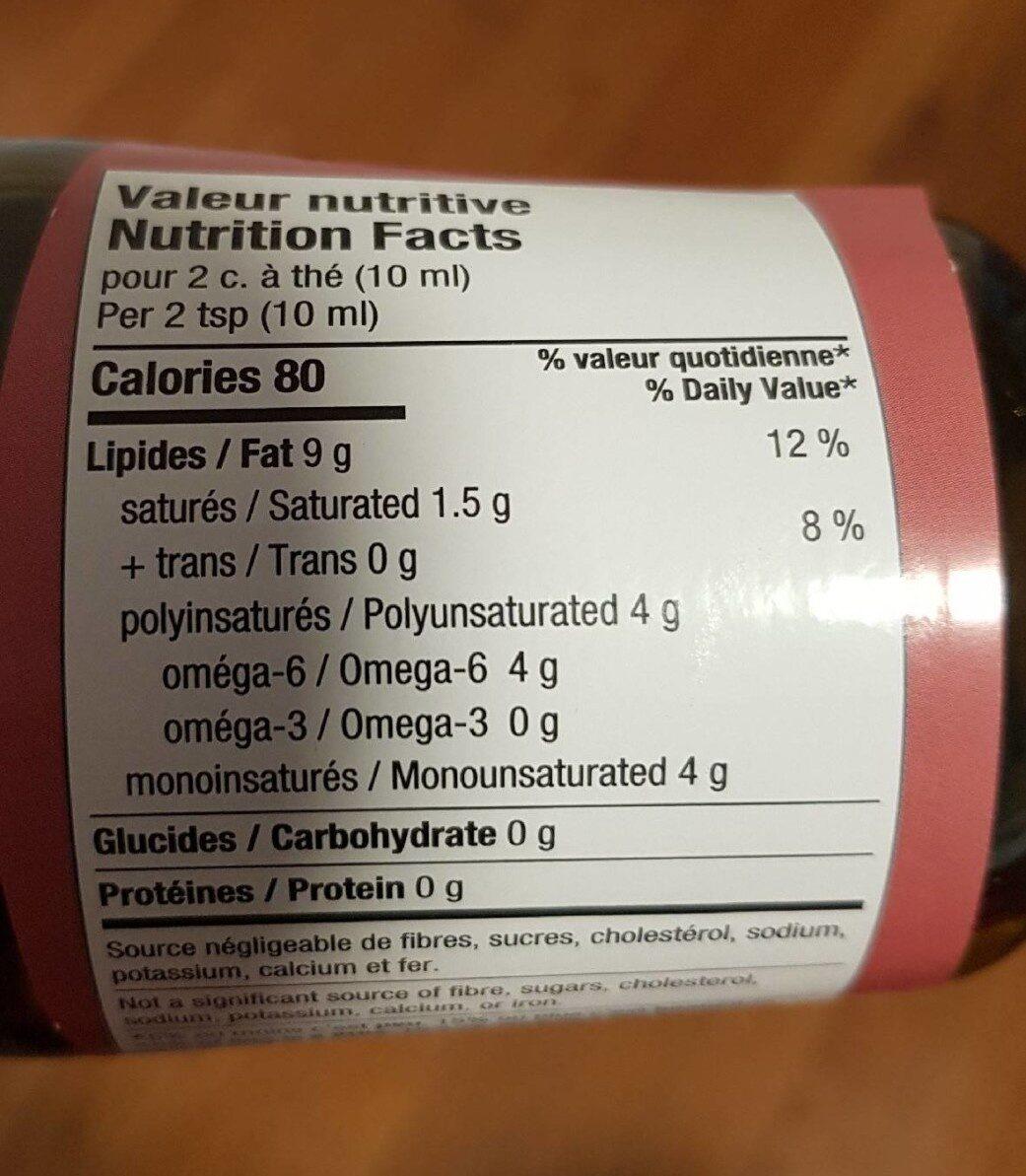 Huile de sésame - Nutrition facts - fr