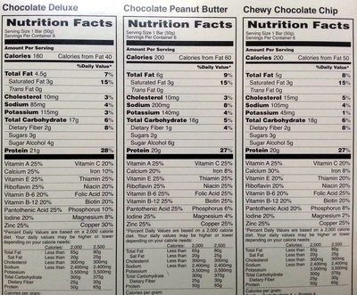 Pure Protein Bar Variety Pack - Informations nutritionnelles - en